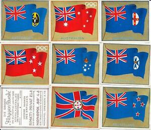 1936 Olympics Berlin - 8 collector cards showing old Australian + NZ flags