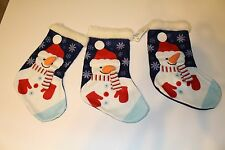 H&M Snowman Blue Christmas Stockings NEW NWT Lot of 3
