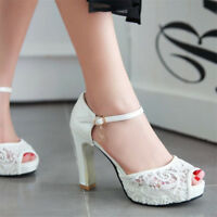 Womens Lace Peep Toe Ankle Strap High Heels Platform Party Shoes Fashion Sandals