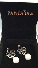 PANDORA .925 Sterling Silver Flower White Pearl Compose Earring Charms NEW