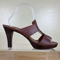 Paul Green Munchen Heels Open Toe Sandals Womens Size 7 Brown Leather