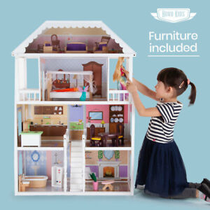 ROVO KIDS Wooden Doll House - Girls Large Toy Pretend Play Dollhouse