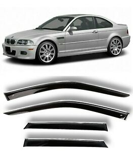 Chrome Trim Window Visors Guard Vent Deflectors For BMW 3 E46 lV Coupe 1999-2006