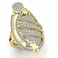 Hand Ring Ring 18K Gold H Si2 Natural 5.00ct Round Diamond Womens Fancy Right
