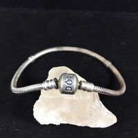 "Vintage Pandora Sterling Silver Charm Bracelet Signed ALE Barrel Clasp 8"" Patina"