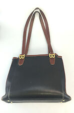 Bally Tote Bag Vintage Purse Handbag Canvas Leather Black Brown Designer