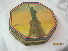 Vintage Loose Wiles Biscuit Co Sunshine Biscuits Tin Statue of Liberty w/ Handle