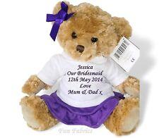 Personalised Large Teddy Bear Bridesmaid Flower Girl Purple Wedding Keepsake