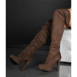 Sexy Thigh High Boots Made of Velvet Khaki #F2031