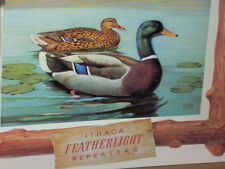 ITHACA Featherlight REPEATERS -Tin Sign -BIG COLORFUL Mallard Duck in River-Lake