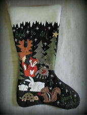 Christmas Stocking KIT - To All A Good Night - Wool Felt Applique and Embroidery