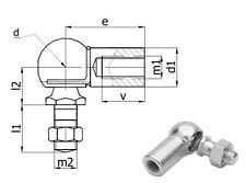 Gasfeder Kugelgelenk Winkelgelenk M10/M10 35mm lang Ø Kugel 16mm Sechskant