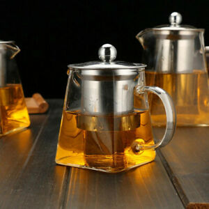 Heat Resistant Glass Teapot With Stainless Steel Infuser Filter Square Jug 950ml