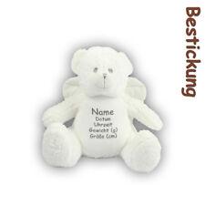 Teddybär Engel kuschelig bestickt Stickerei individuell Geburt Taufe waschbar