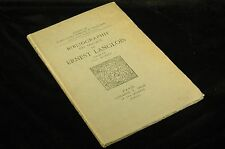 Bibliographie Des Travaux De Ernest Langlois, Noel Dupire - E. Droz Paperback Bo