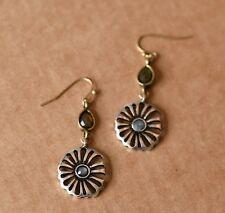 Vintage silver flower round drop earrings hook dangle earrings womens jewellery