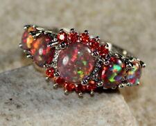 SILVER Elegant Orange Fire Opal & Orange Red Garnet Ring Size 5, WR41602