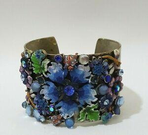 Handmade Statement Bracelet Adjustable Wide Alloy Chunky Rhinestone Flowers OOAK
