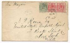 Grenada Scott #91 #92 Pair on Cover September 25, 1915 to New York, USA