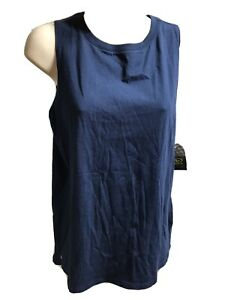 Athletic Works Tank Top S 4/5 Blue Sleeveless Pleated Back New 210301