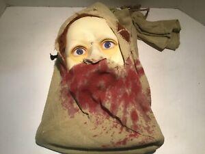 "Vintage Gemmy Animated Head in Bag Hanging Screaming Talking Shaking 18"" RARE"