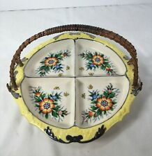 Vintage 1920s-40s 4 Section Relish Dish W/Wired Rattan Handle Yellow Silver Trim