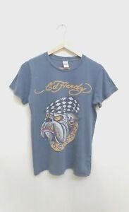 Womens Ed Hardy Christian Audigier Bulldog Grey T shirt Size Small GC Free Post