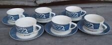 Vintage Currier & Ives Royal China Blue & White Riverboat (6) Cups/Saucers