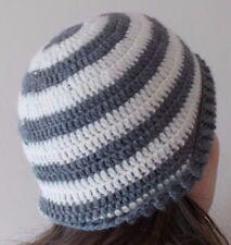 Handmade crochet hat cream and grey unisex