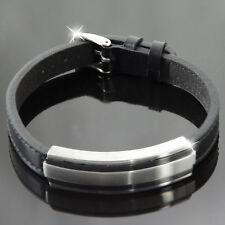s.Oliver Herren Armband Lederarmband mit Edelstahl/schwarz A2012471