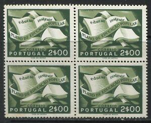Portugal Education 2 E block of 4 mint o.g. hinged