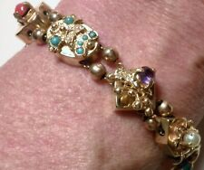 "Antique Multi-Gemstone 14K Yellow Gold Slide Bracelet 6.75"" Long 31.36g Signed"