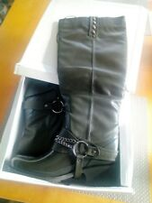 Spot On Ladies Heeled khaki Welly Boots, Size 5, BNIB, stud, chain & straps