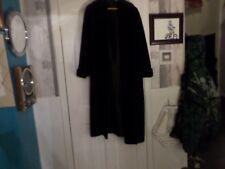 BEAUTIFUL BLACK LONG COAT-COTTON VELVET COLLAR,FRONTS/CUFFS-MED-HOUSE OF FRAZER