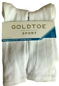 Gold Toe Sport Mobility FX Stretch Womens White Crew Socks Size 6-9 6 Pairs New