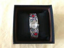 NWT Coach 14502731 Women's Scout Floral-Print Leather-Inset SS Bangle Watch $350