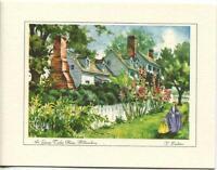 VINTAGE COLONIAL VIRGINIA WILLIAMSBURG GARDEN ST GEORGE TUCKER HOUSE PRINT CARD