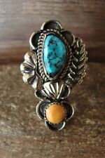 Navajo Indian Jewelry Nickel Silver 2 Stone Turquoise Spiny Oyster Ring Size ...