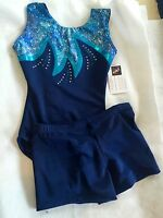 NAVY LYCRA AMOUR LEOTARD AND SHORTS made by GLITZ Leotards