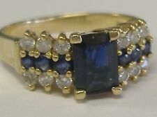14k   GOLD DIAMONDS 0.18CT AND SAPPHIRE  RING SIZE 7