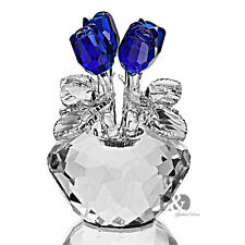 H&D Handmade Blue Crystal Rose Figurine Glass Xmas Wedding Gift Ornaments