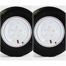 "2-Pk Radial Trailer Tire & Rim ST175/80R13 13"" Load C 5 Lug White Spoke 57880"