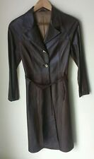 Renzo Santangelo Leather Trench Coat * Women's 42 * Patchwork Brown, Red Brown