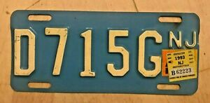 """1993 NEW JERSEY MOTORCYCLE CYCLE LICENSE PLATE """" D 715 G """" NJ BUFF ON BLUE"""