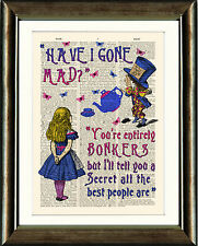 Antique Book page Art Print - Mad Hatter Bonkers Quote Dictionary Wall Art Pink