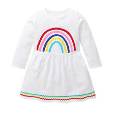 Toddler Baby Kids Girls Long Sleeve Princess Party Rainbow Print Tutu Dress