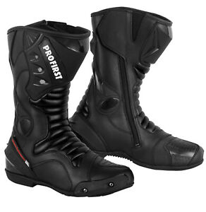 Motorbike Racing Leather Boots Waterproof Motorcycle Riding Armoured Black Size