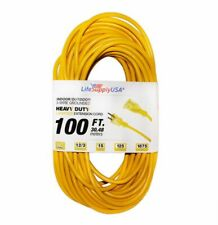 12/3 100ft 300V SJTW Lighted End Extension Cord 15 AMP Indoor Outdoor (100 feet)