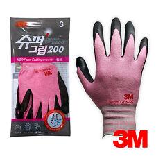 3M Safety Work Gloves Pink Color Super Grip 200 Nitrile Foam Coating
