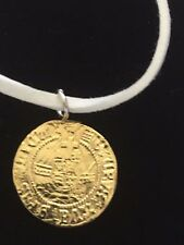 """Henry VIII Half Angel Coin WC47 Gold English Pewter On  18"""" White Cord Necklace"""